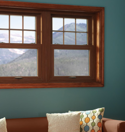 Great Lakes cherry wood grain vinyl window